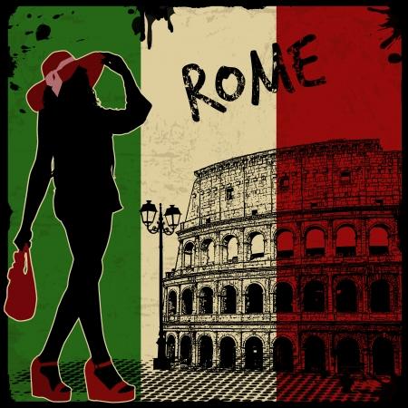 amphitheater: Italian vintage grunge poster, vector illustration Illustration