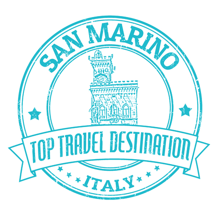 marino: Top travel destination grunge rubber stamp with the word San Marino, Italy inside, vector illustration