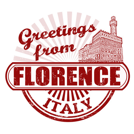 florence   italy: Grunge rubber stamp with text Greetings from Florence, vector illustration Illustration