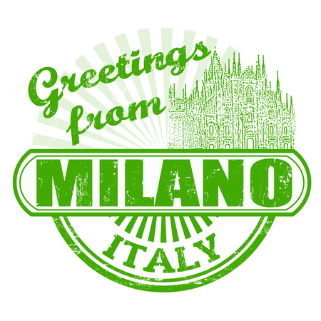 Grunge rubber stamp with text Greetings from Milano, vector illustration Vector