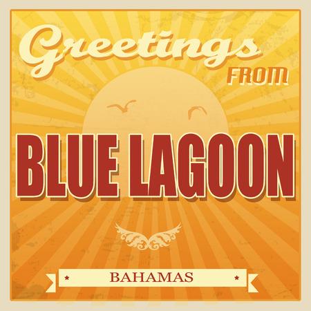 blue lagoon: Vintage Touristic Greeting Card - Blue Lagoon, Bahamas, vector illustration