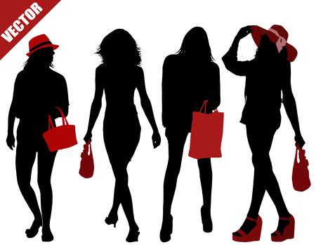 Sets van sexy vrouwen silhouetten op een witte achtergrond, vector illustratie Stock Illustratie