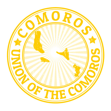 comoros: Grunge rubber stamp with the name and map of Comoros, vector illustration Illustration