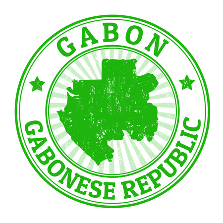 gabon: Grunge rubber stamp with the name and map of Gabon, vector illustration