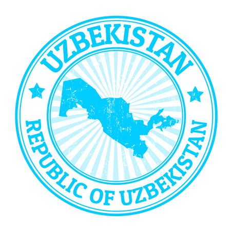 uzbekistan: Grunge rubber stamp with the name and map of Uzbekistan, vector illustration