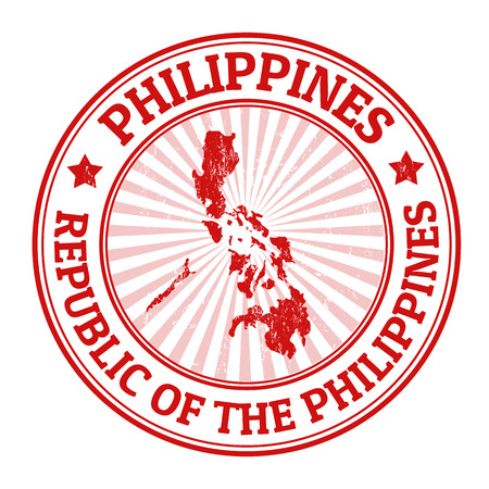 identifier: Grunge rubber stamp with the name and map of Philippines, vector illustration Illustration
