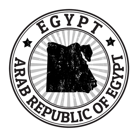 Grunge rubber stamp with the name and map of Egypt, vector illustration Vector