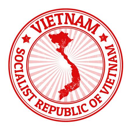 ベトナムの地図、ベクター グラフィックと名前でグランジ ゴム印