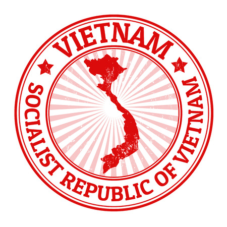 Grunge timbro di gomma con il nome e la mappa del Vietnam, illustrazione vettoriale Archivio Fotografico - 22590999