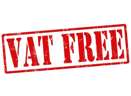 reduce taxes: VAT free grunge rubber stamp on white, vector illustration