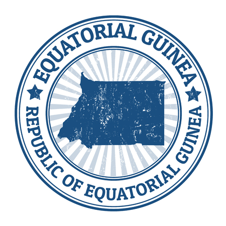 guinea: Grunge rubber stamp with the name and map of Equatorial Guinea, vector illustration