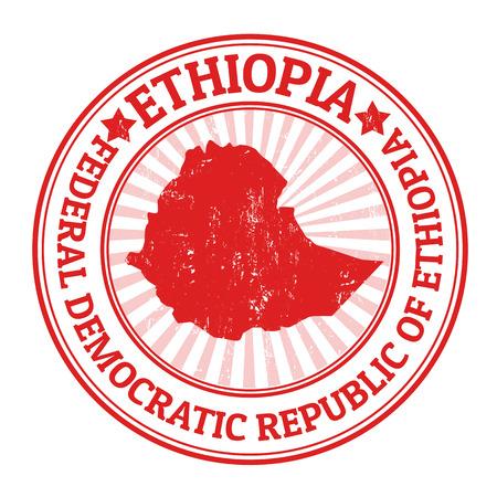 passeport: timbre en caoutchouc grunge avec le nom et la carte de l'Ethiopie, illustration vectorielle