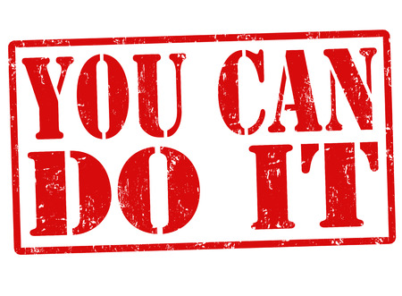 you can do it: You can do it grunge rubber stamp on white, vector illustration