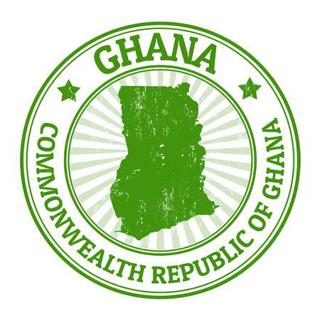 ghana: Grunge rubber stamp with the name and map of Ghana, vector illustration Illustration