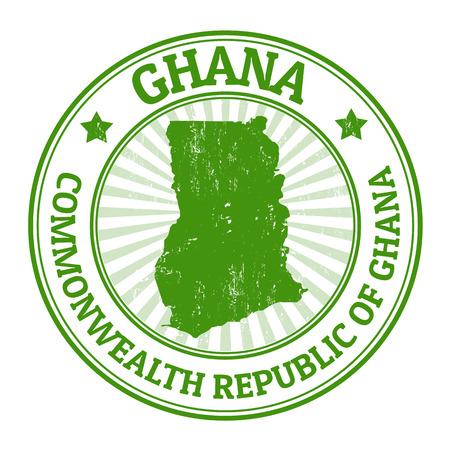 timbre voyage: Tampon en caoutchouc grunge avec le nom et la carte du Ghana, illustration