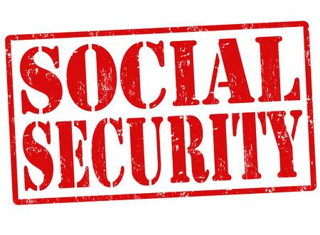 seguridad social: La seguridad social grunge sello de goma en blanco, ilustración vectorial
