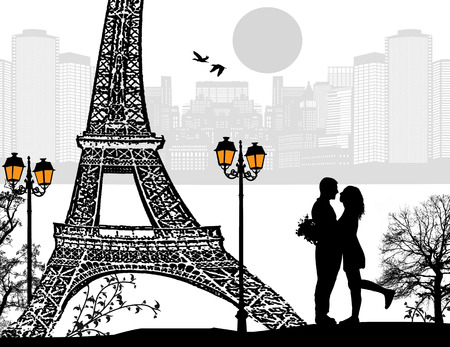 Lovers in Paris at night, vector illustration Vector
