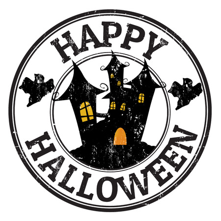 horror house: Happy halloween grunge rubber stamp with castle and ghosts, vector illustration
