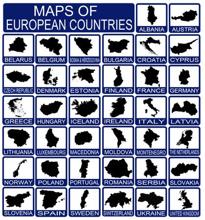 Kaarten van Europese landen op wit, vector illustratie