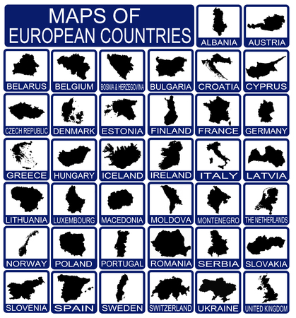 Maps of European Countries on white, vector illustration