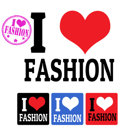 fashion week: I love Fashion sign and labels on white background, vector illustration