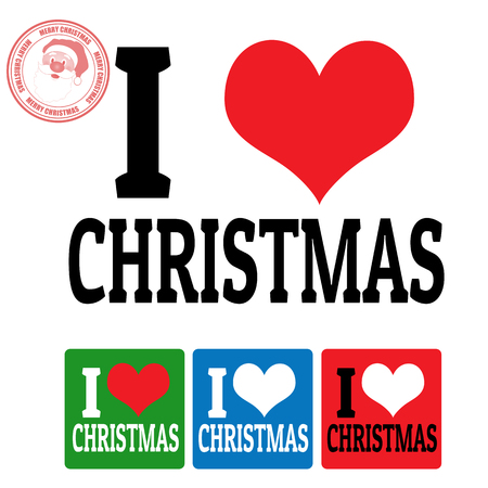 I love Christmas sign and labels on white background, vector illustration
