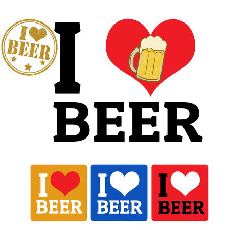 I love Beer sign and labels on white background, vector illustration Vector