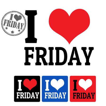week end: Me encanta signo viernes y etiquetas en el fondo blanco, ilustraci�n vectorial