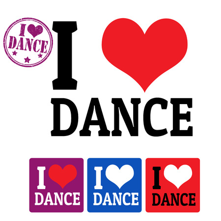 lap: I love Dance sign and labels on white background, vector illustration