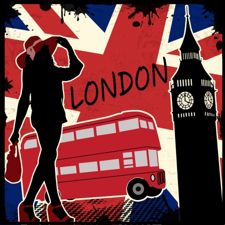 London vintage grunge poster, vector illustration Stock Vector - 22591106