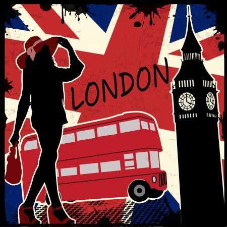 british girl: London vintage grunge poster, vector illustration