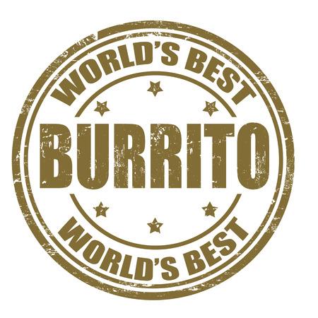 pollo rostizado: Grunge sello de goma con la palabra Burrito escrito dentro del sello Vectores