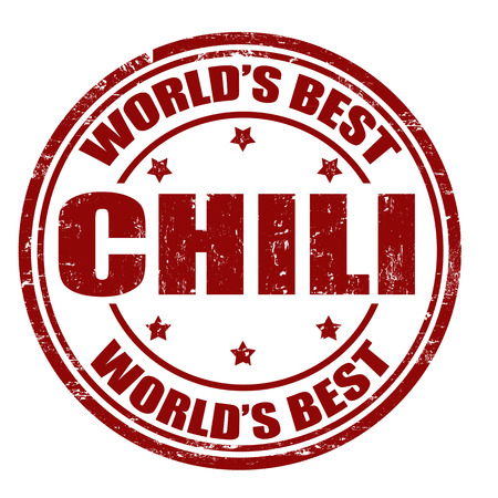 seasoned: Grunge rubber stamp with the word Chili written inside the stamp