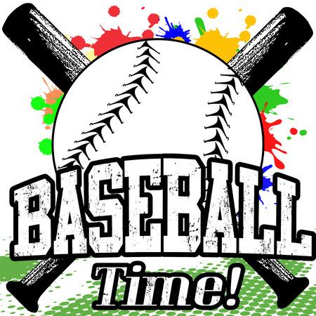 chauve souris: Baseball affiche grunge Time sur fond blanc, illustration vectorielle Illustration