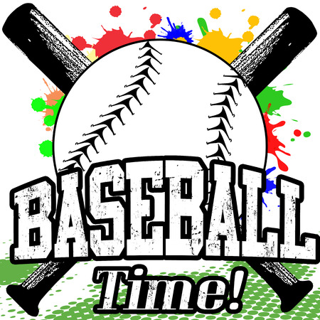 baseball: Baseball Time grunge poster on white, vector illustration