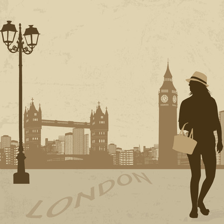 Beautiful woman silhouette on a London street on vintage background, vector illustration Stock Vector - 22680675