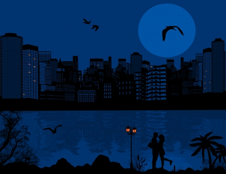 Vector design background with beautiful cityscape and couple silhouette with reflection on water