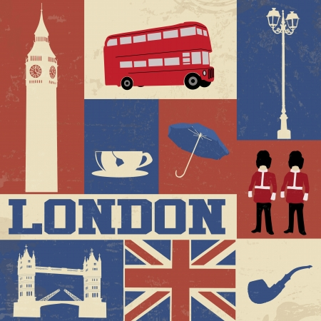 travel collage: Retro Style Poster With London Symbols and Landmarks, vector illustration Illustration