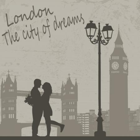 tarjeta postal: Retro London cartel de grunge con los amantes de la ciudad y paisaje, ilustración vectorial