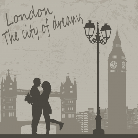 postcard design: Retro London grunge poster with lovers and city scape, vector illustration