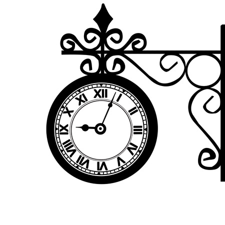 Retro street clock on white background, vector illustration Vector