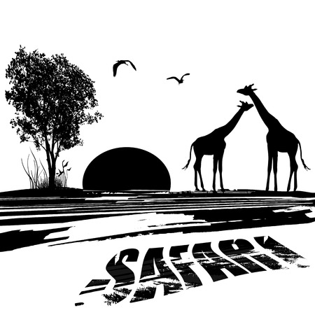 Two giraffes silhouette in africa at sunset on black and white, vector illustration Vector