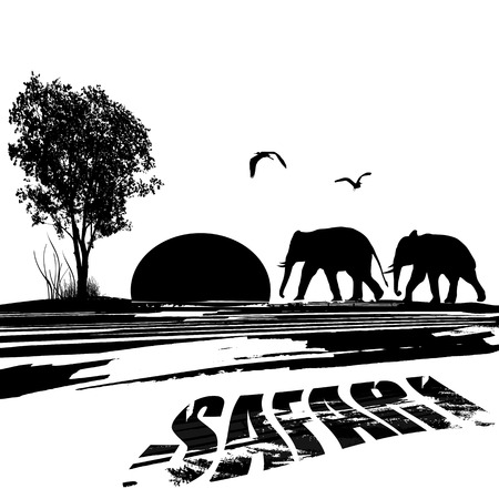 Elephants silhouette in africa at sunset on black and white, vector illustration Vector