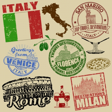 Set of grunge stamps with Italy on retro background, vector illustration