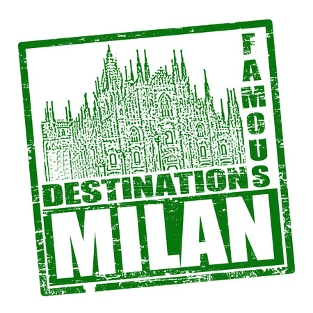 Grunge rubber stamp with the text travel destinations Milan inside, vector illustration