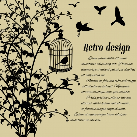 Bird in the cage and flying birds on retro style background, vector illustration