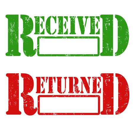 validez: Grunge sello de goma con el texto recibido y devuelto, ilustraci�n vectorial