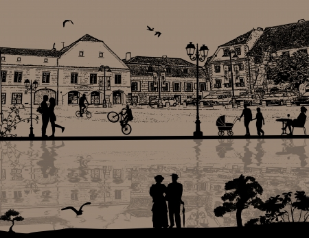 Vector design background with beautiful cityscape and people silhouette with reflection on water Vector