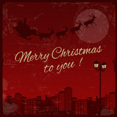 Santa Claus comes to city on vintage background, vector illustration Vector