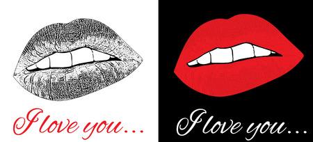 Set of love kiss background, vector illustration  Vector